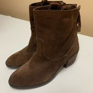 Sam Edelman brown suede shirt boots size 8